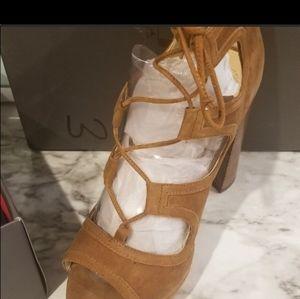 Tan Suede open toe shoes...
